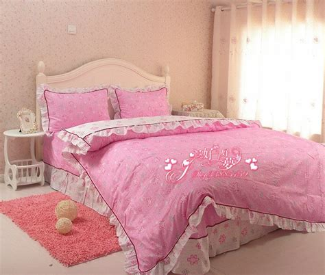 9865 New Luxy Pink Limited free shipping 100 cotton big pink flower design bedding set luxury painting duvet cover