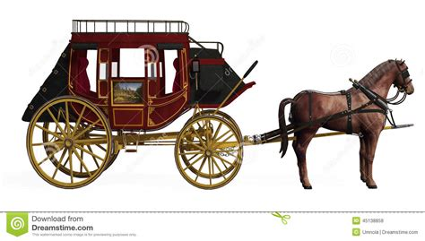 stage couch stagecoach with horses stock illustration illustration of