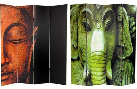 buddha room divider screen 6 ft sided buddha and ganesh canvas room divider asian screens and room