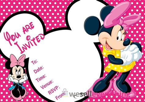 minnie mouse invitations template 20 minnie mouse invitations children quot s invites