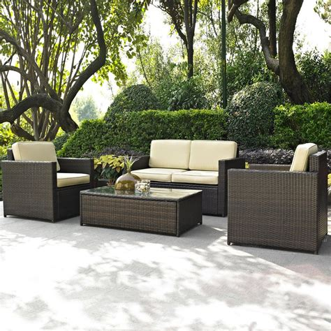 Shop Crosley Furniture Palm Harbor 4 Piece Wicker Patio Lowes Wicker Patio Furniture