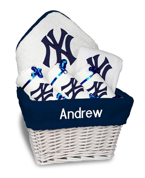 gifts for yankees fans personalized new york yankees medium gift basket mlb