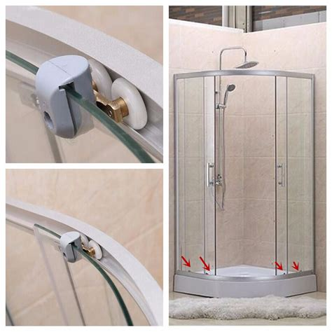 4pcs Heavy Duty Zinc Alloy Twin Top Bottom Shower Door Shower Door Runners