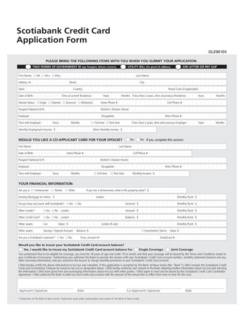 Credit Application Form Canada credit card application form 6 free templates in pdf