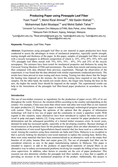 Research Paper On Pineapple by Producing Paper Using Pineapple Leaf Fiber Pdf Available