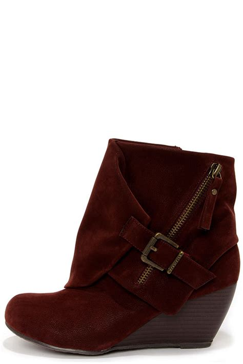 burgundy boots ankle boots wedge boots 63 00