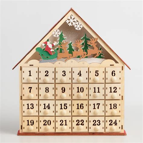 wood advent calendar house with led lights world market