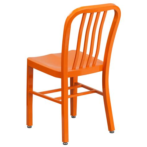 Orange Lawn Chairs by Orange Metal Indoor Outdoor Chair Ch 61200 18 Or Gg