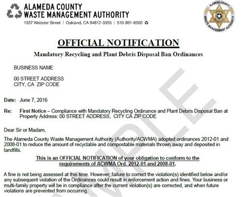 Official Notification Letter Haulers Support Materials Recycling Alameda County