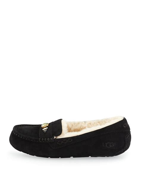 ugg slippers ansley ugg ansley suede slippers in black lyst