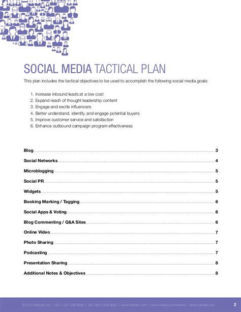 social media caign plan template sle social media tactical plan