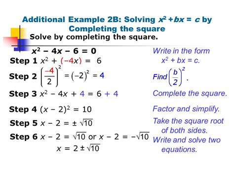 Solve By Completing The Square Worksheet by Solve Math Exle Images