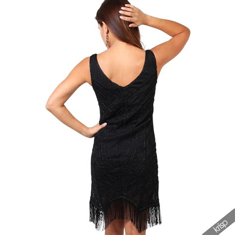 swing tanzkleid damen swing kleid 20er jahre fransenkleid