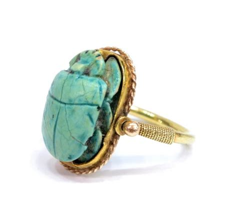 antique 18kt gold faience scarab estate ring
