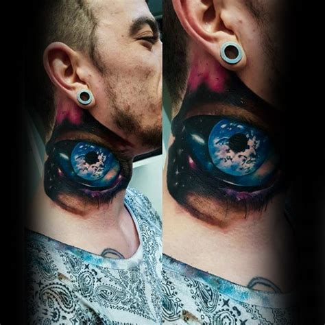 eyeball tattoo on neck marvelous colorful detailed 3d eye tattoo on neck