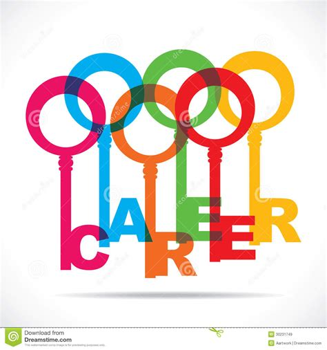 colorful career word key royalty free stock images image