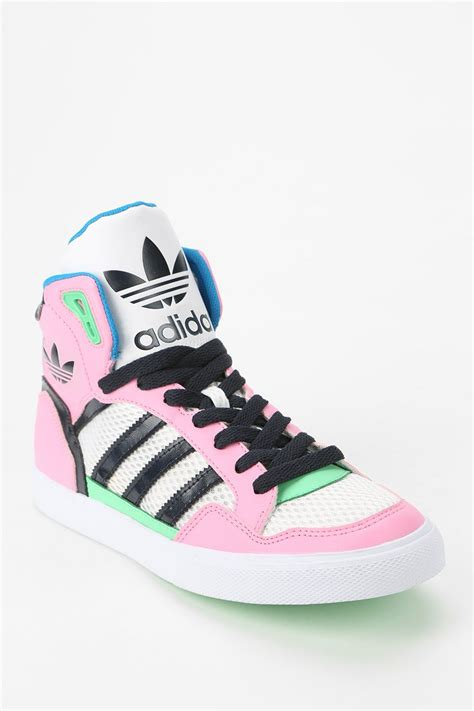 lyst adidas originals extaball leather high top sneaker in pink