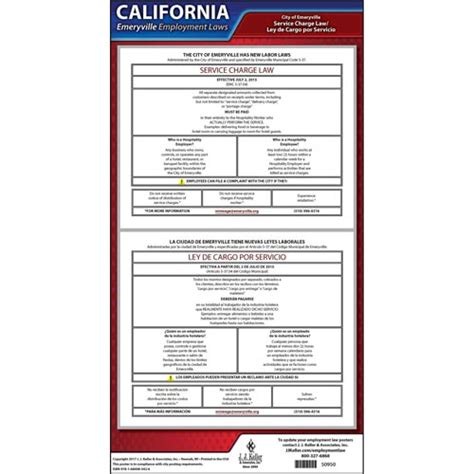 california service laws california emeryville service charge poster