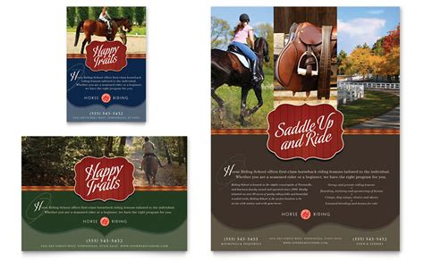horse riding stables amp camp flyer amp ad template word