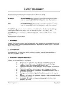 Patent Template by Patent Assignment Template Sle Form Biztree