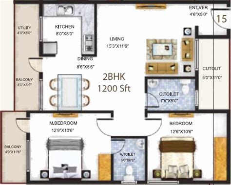 serenity floor plan 1200 sq ft 2 bhk 2t apartment for sale in baldota group