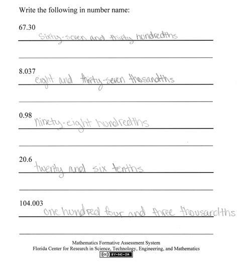number names worksheets 187 5th grade writing worksheets decimals in number name