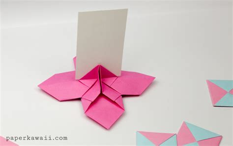 Origami Flowers For Cards - origami flower card holder paper kawaii