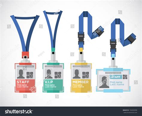 Lanyard Name Tag Holder End Badge Stock Vector 194369390 Shutterstock Lanyard Name Badge Template