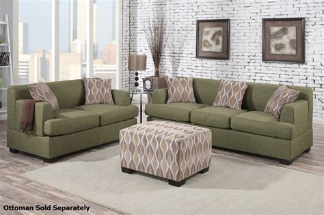 loveseat and ottoman set montreal green fabric sofa and loveseat set steal a sofa