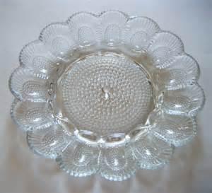 glass egg plate depression glass deviled egg plate scalloped edge by parkledge