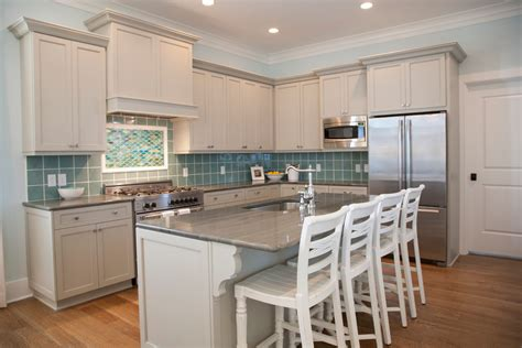 Specialty Kitchen Cabinets Sea Glass Design Kitchen Beach Style With Gray Countertop