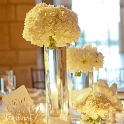 Vases Centerpieces by Beautiful White Hydrangea Centerpiece In Cylinder