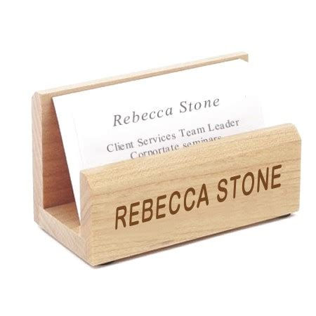 Custom Initial Name Big Card Holder Grey 2 business card holder wood engraved with your name