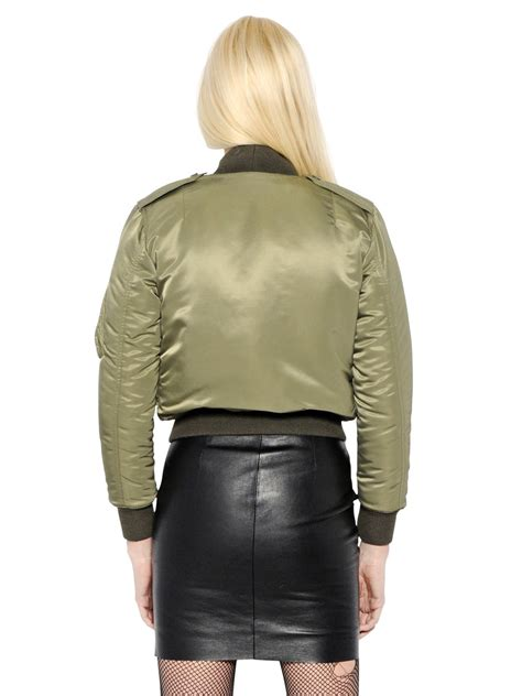 jaket bomber crop nevy laurent cropped crepe bomber jacket in green lyst
