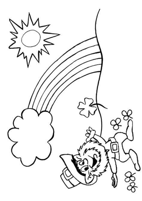 rainbow coloring page with leprechaun free online leprechaun and rainbow colouring page