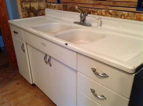 kitchen cabinets that sit on countertop vintage youngstown steel enamel kitchen sink counter