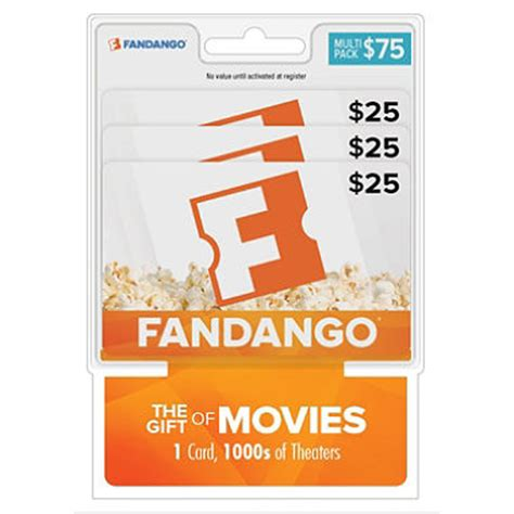 What Is A Fandango Gift Card - fandango movies 75 multi pack 3 25 gift cards sam s club