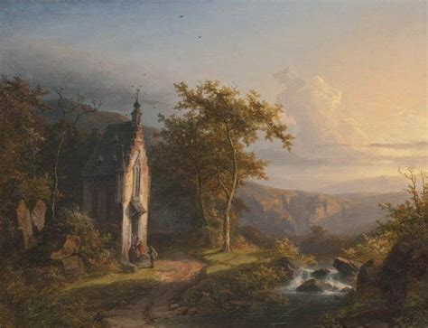 Classic Landscape Wallpaper | painting classic art waterfall stream church dirt