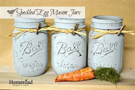 diy chalk paint jars speckled egg painted jars www homeroad net chalk