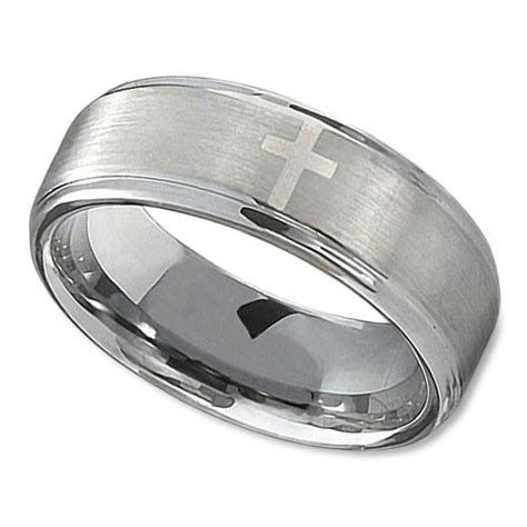 s tungsten wedding band in 8mm with polished cross