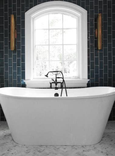 vertical bathtub bathroom with gray vertical subway tiles contemporary