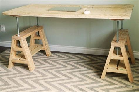 How To Build An Adjustable Sawhorse Desk Coffee Table Sawhorse Standing Desk