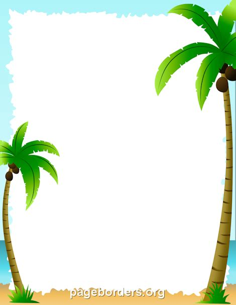 printable coconut tree template printable palm tree border use the border in microsoft