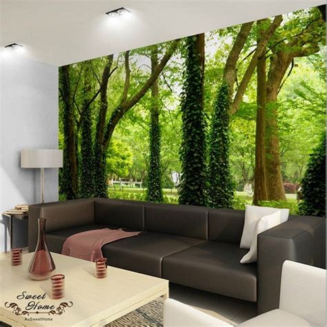 wall mural paper green forest nature landscape wall paper wall print decal