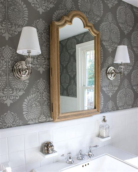 driven  decor stencil wall treatment powder room