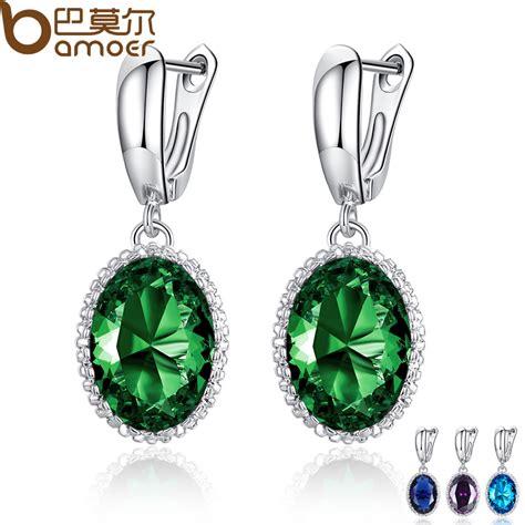 Engagement Earrings aliexpress buy bamoer luxury big green drop
