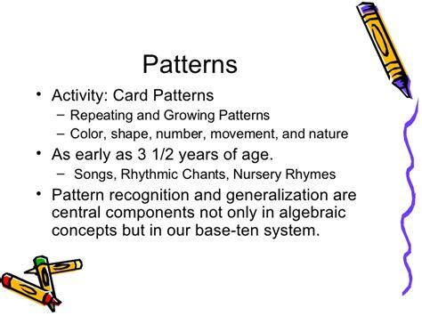 pattern recognition generalization hands on algebra for k 2 learners