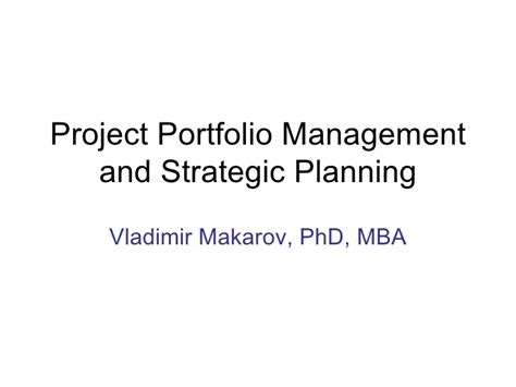Strategic Management Projects Mba by Project Portfolio Strategic Planning
