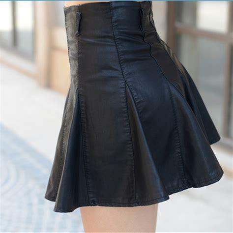 2015 new arrival leather skirt pu pleated zipper