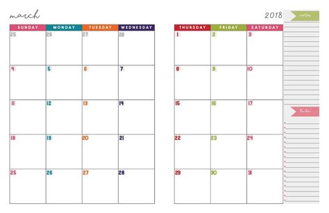blank calendar 2018 january february two month template